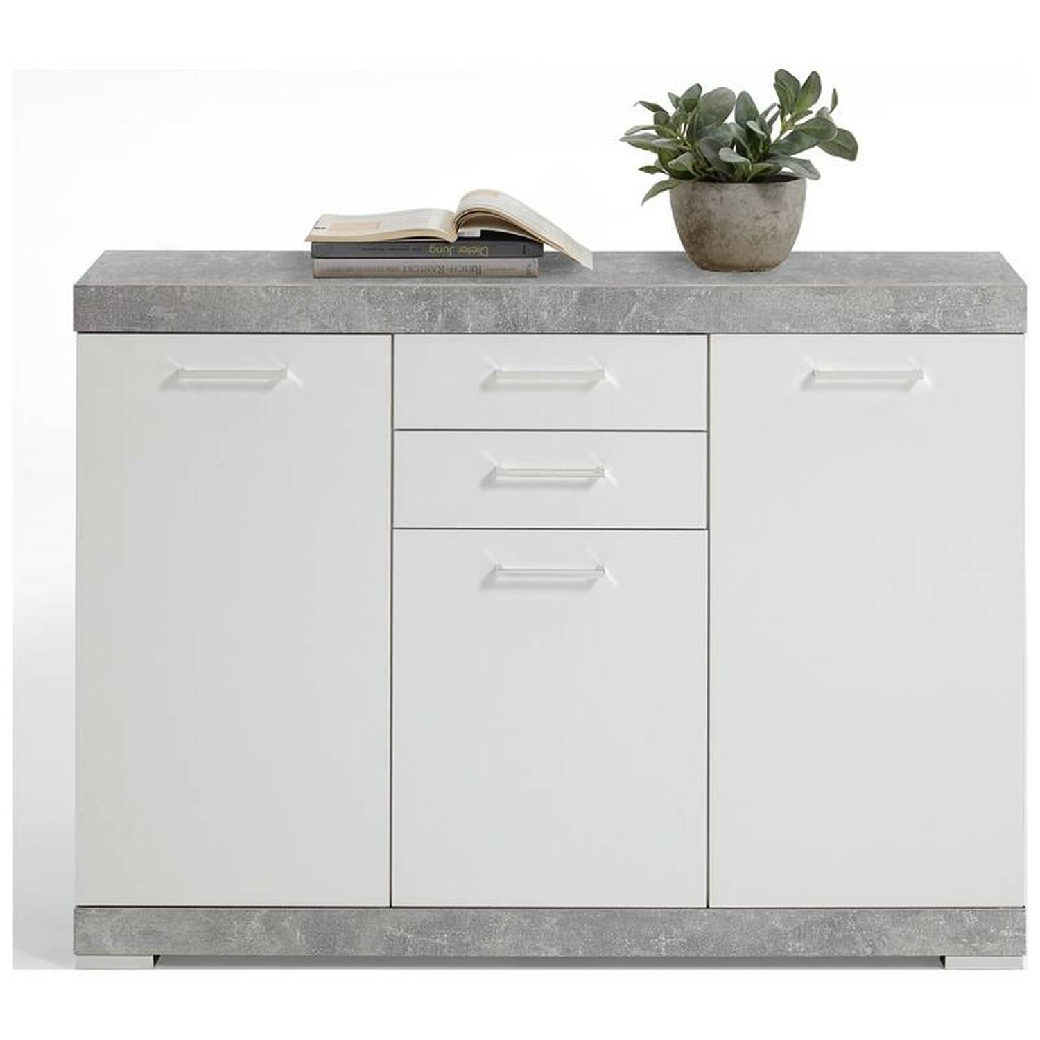 sideboard anrichte mit 3 t ren und 2 schubk sten in beton nb wei edelglanz york 10 b x h x t. Black Bedroom Furniture Sets. Home Design Ideas