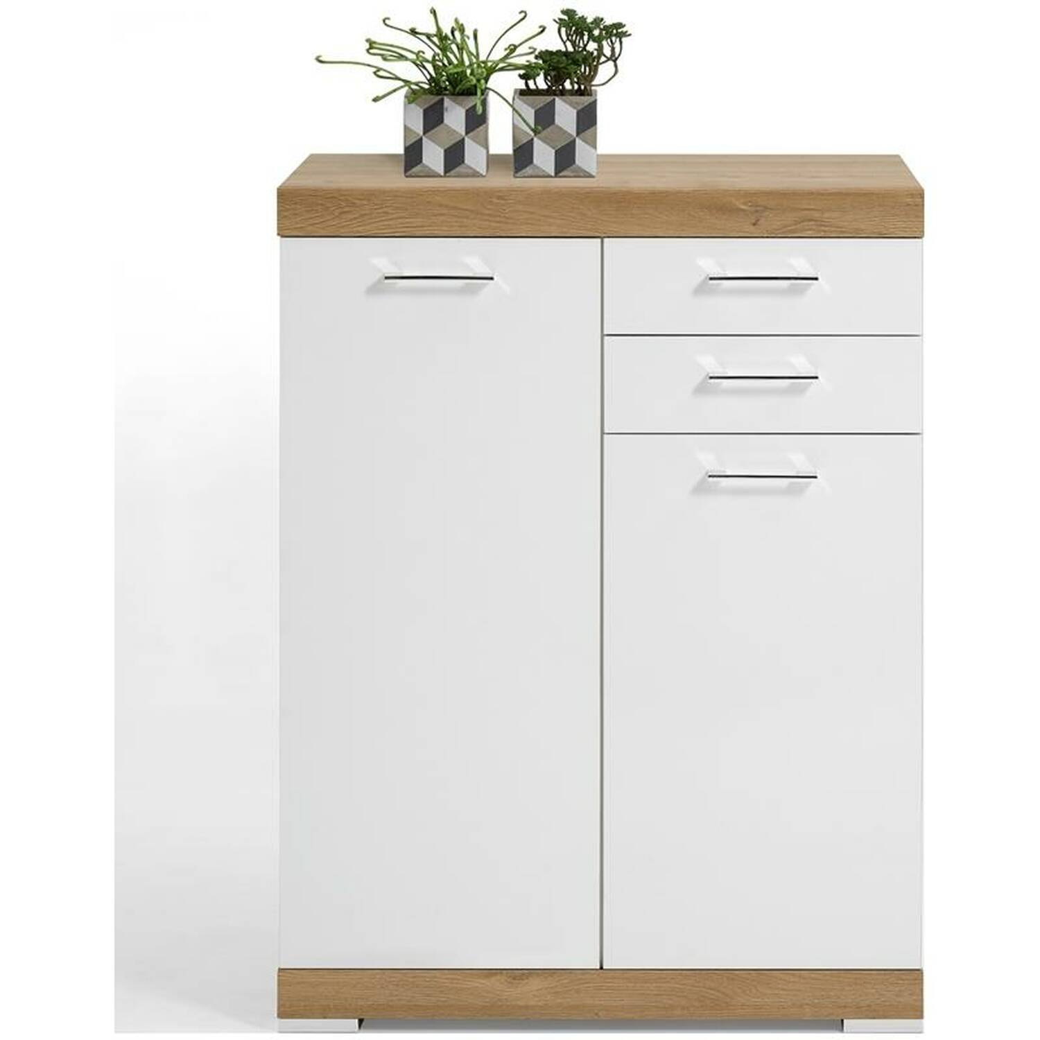 kommode highboard mit 2 t ren und 2 schubk sten alteiche nb wei edelglanz xl tiefe york 10 b. Black Bedroom Furniture Sets. Home Design Ideas