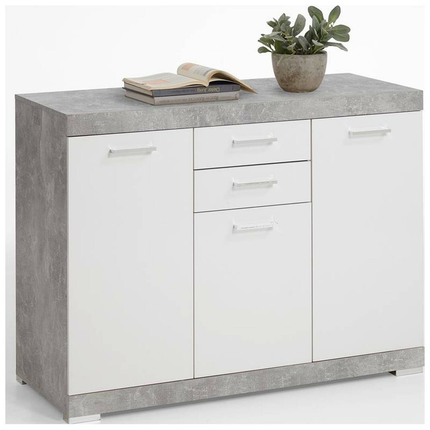 kommode sideboard beton nb wei edelglanz mit 3 t ren und 2 schubk sten xl tiefe york 10 b x h. Black Bedroom Furniture Sets. Home Design Ideas