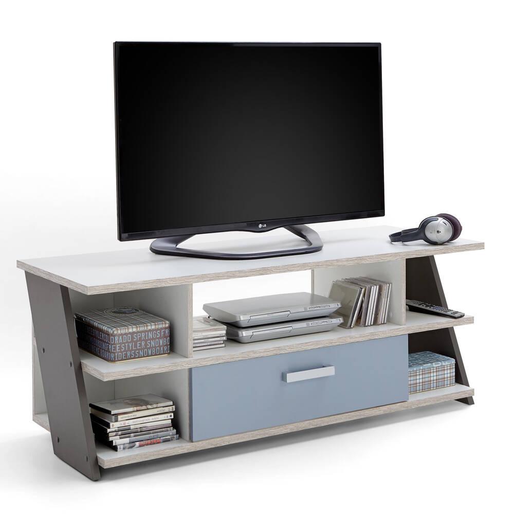 Jugendzimmer Fernsehschrank TV Lowboard LEEDS-10 Sandeiche Nb./weiß/Lava/Denim, B x H x T ca. 135 x 51,6 x 50 cm