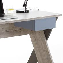 Desk LEEDS-10 Sand oak Nb./white/lava/Denim, W x H x D...