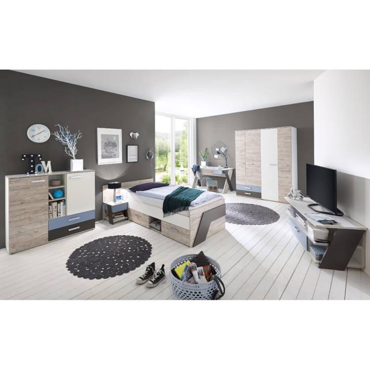 10% Jugendzimmer Set Mit Schreibtisch 6 Teilig LEEDS 10 In Sandeiche Nb.  Mit Weiß
