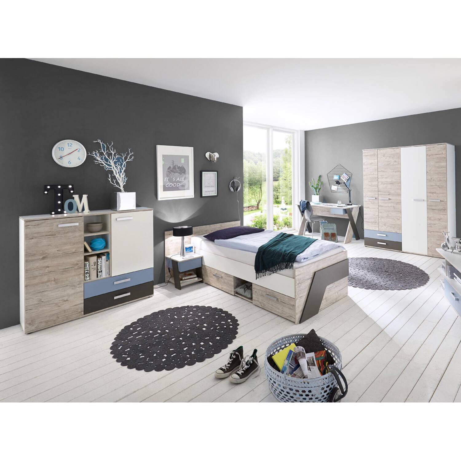 jugendzimmer set mit schreibtisch 5 teilig leeds 10 in sandeiche nb mit wei lava und denim. Black Bedroom Furniture Sets. Home Design Ideas