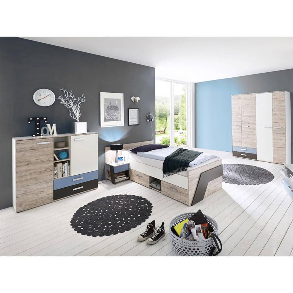 Jugendzimmer Set 4-teilig LEEDS-10 in Sandeiche Nb. mit weiß, Lava und Denim Blau