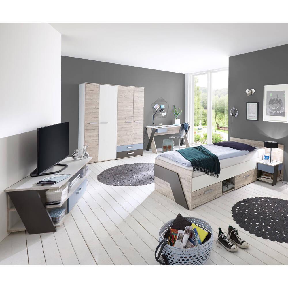 Jugendzimmer Set 5-teilig mit KleiderschrankLEEDS-10 in Sandeiche Nb. mit weiß, Lava und Denim Blau