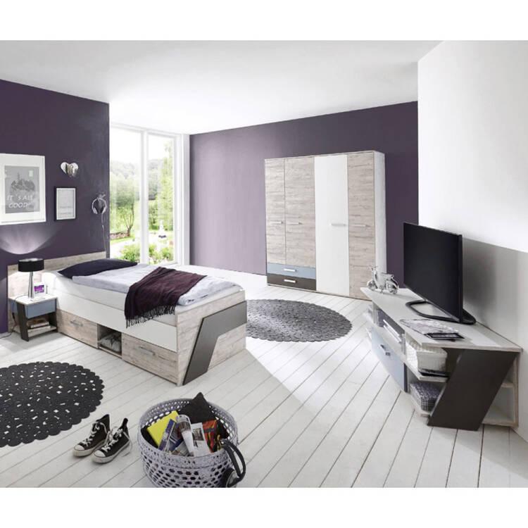 Jugendzimmer Set 4 Teilig Leeds 10 In Sandeiche Nb Mit Weiß Lava Und