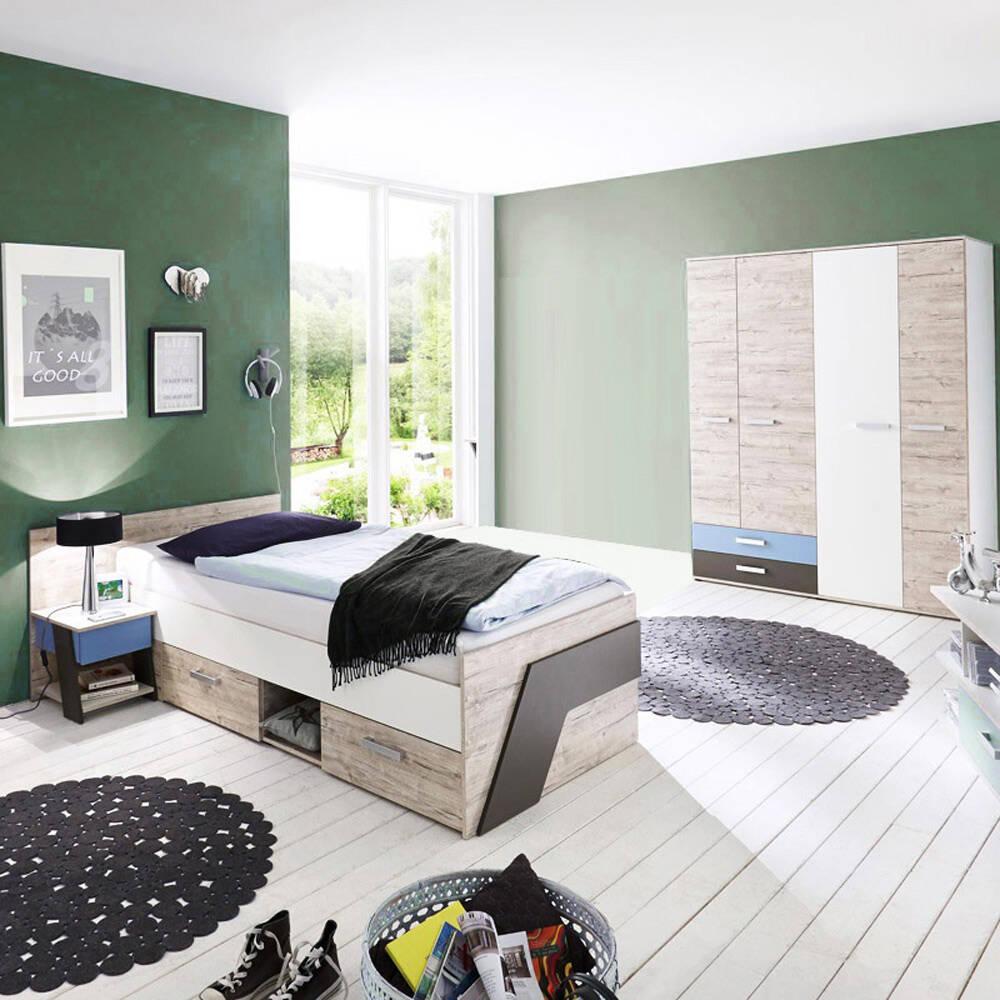 günstiges Jugendzimmer Set in Sandeiche Nb. mit weiß, Lava 3-teilig LEEDS-10 und Denim Blau