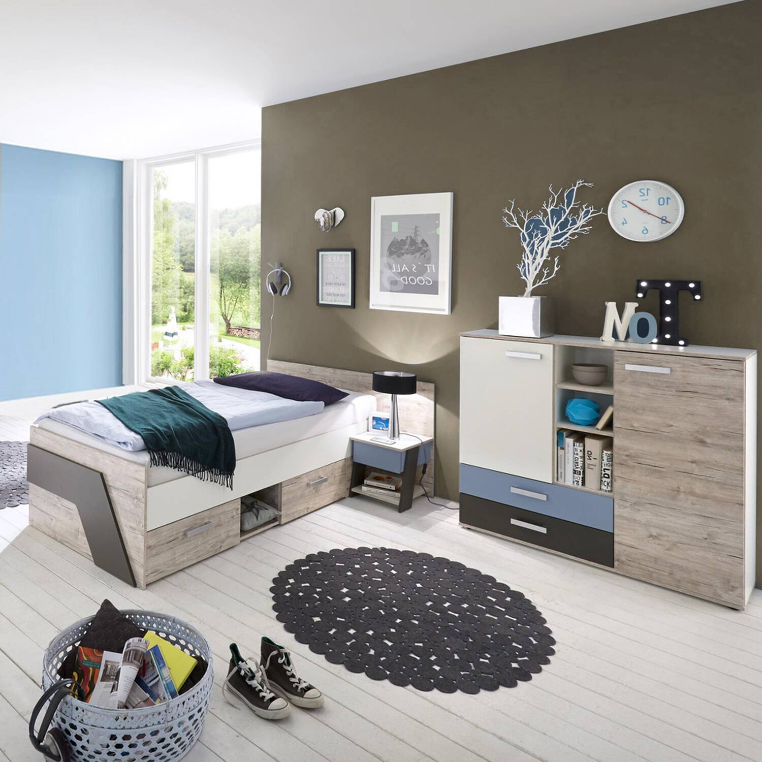 jugendzimmer set mit kommode 3 teilig leeds 10 in sandeiche nb mit wei lava und denim blau. Black Bedroom Furniture Sets. Home Design Ideas
