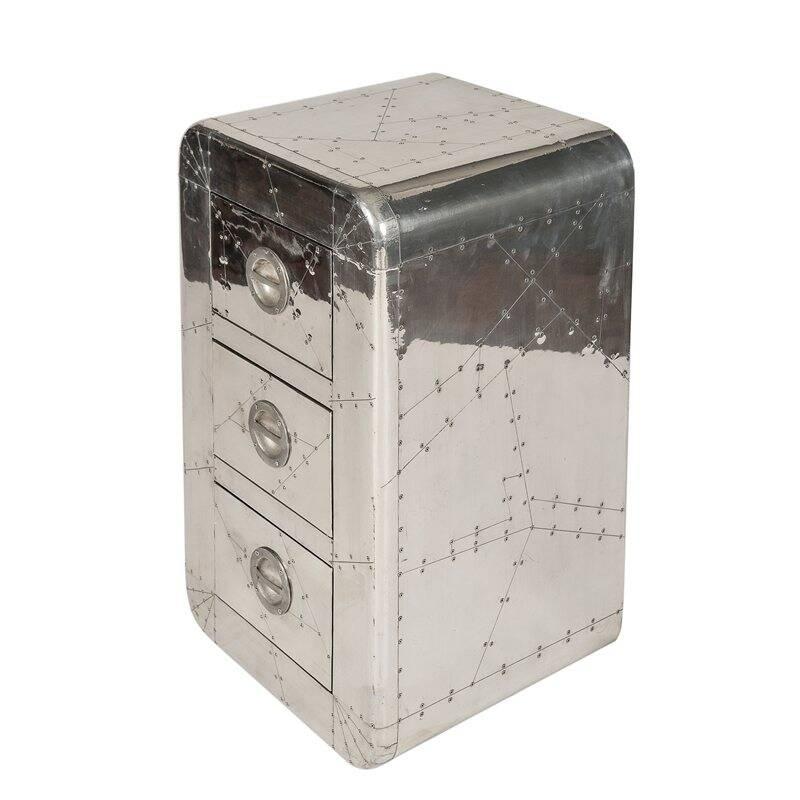 Kommode AIRMAN-14 45x40x80cm silber Mangoholz + MDF mit Alu beschlagen, mit Zierschrauben