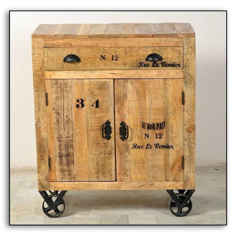 Kommode RUSTIC-14 80x40x95cm natur antik mit antikschwarzen Beschlägen lackiertes Mangoholz mit starken Gebrauchsspuren