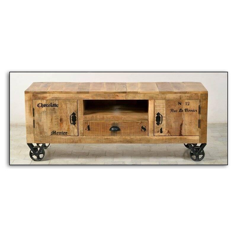Lowboard RUSTIC-14 140x40x55cm natur antik mit antikschwarzen Beschlägen lackiertes Mangoholz mit starken Gebrauchsspuren