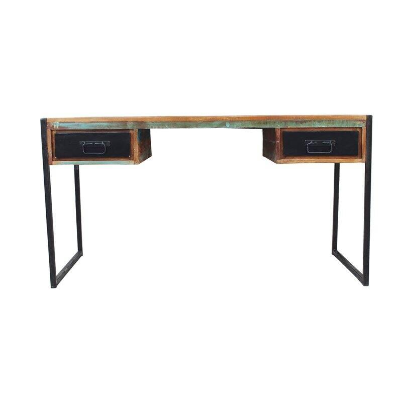 Schreibtisch BALI-14 145x70x76cm bunt mit antikschwarz Recyceltes Altholz mit schwarzen Altmetall und Gebrauchsspuren