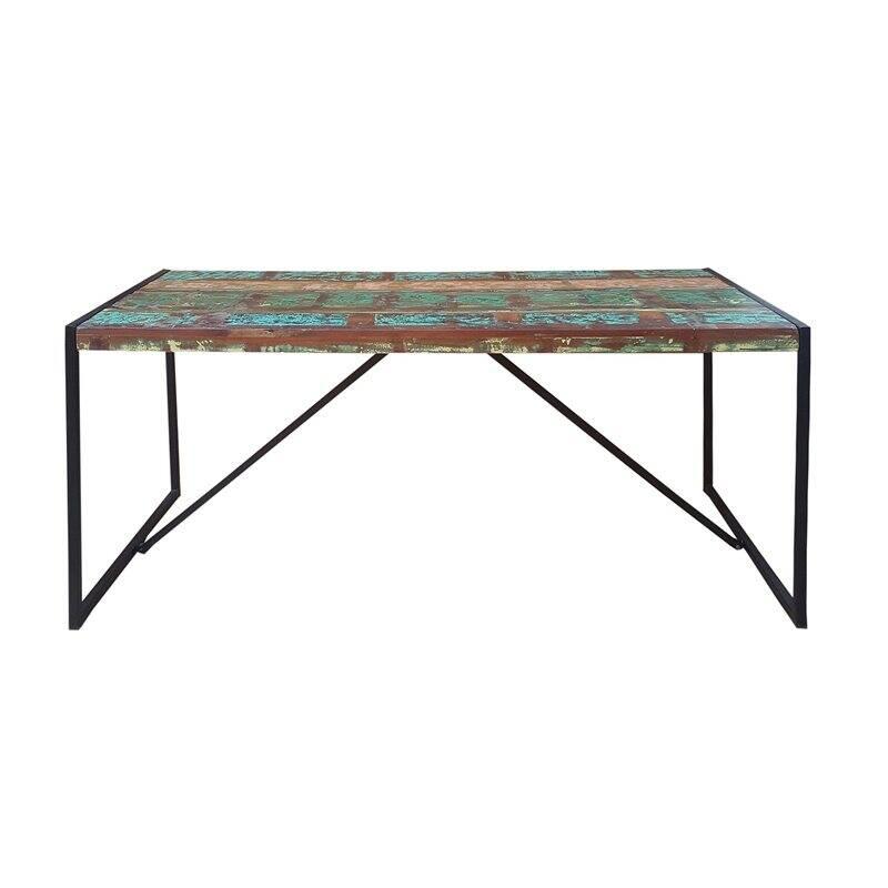 Tisch BALI-14 145x70x76cm bunt mit antikschwarz Recyceltes Altholz mit schwarzen Altmetall und Gebrauchsspuren