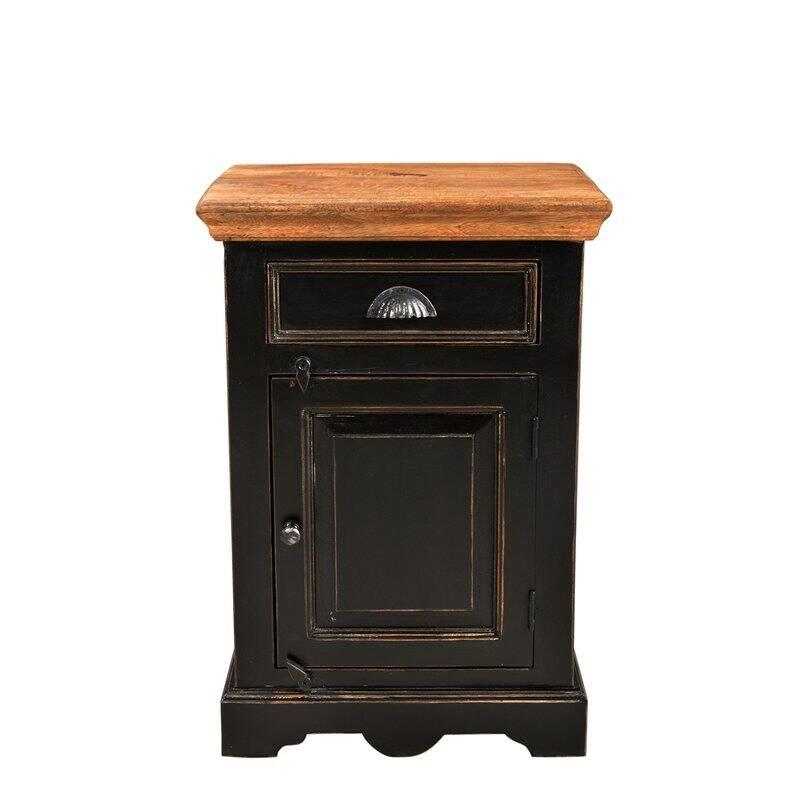 Nachttisch CORSICA-14 50x40x60cm schwarz mit honigfarbiger Deckplatte Mango