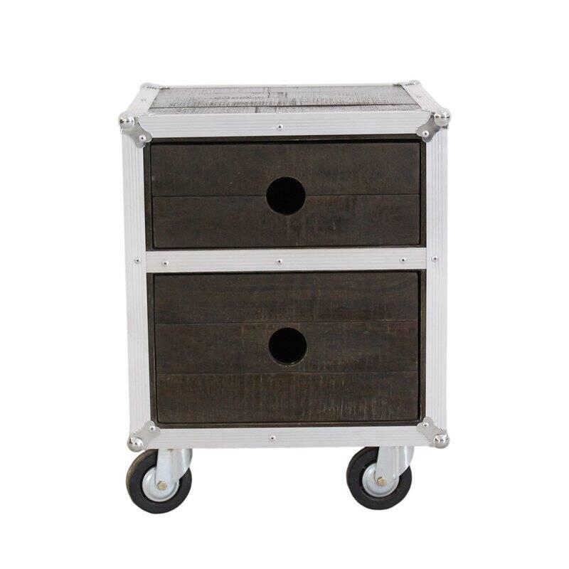 Nachttisch DARK ROADIES-14 45x45x60cm dunkelbraun mit silbernen Beschlägen Mango dunkelbraun gebeizt, mit Alu beschlagen