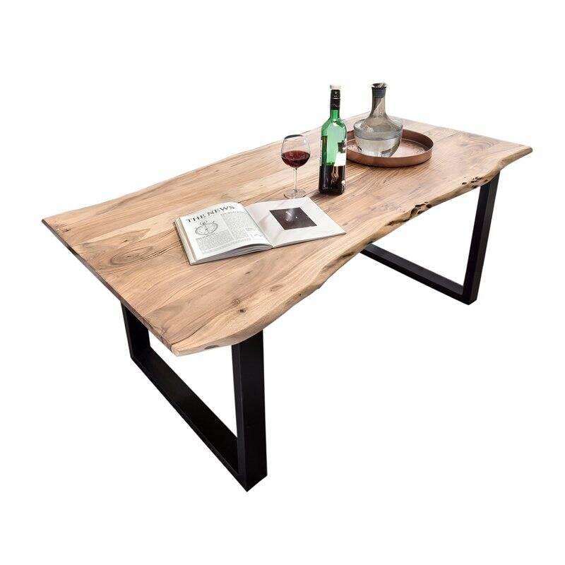 Tisch Gestell schwarz TISCHE-14 160x85x77cm Platte antikfinish, Gestell schwarz lackiert Platte Akazie, Gestell Stahl