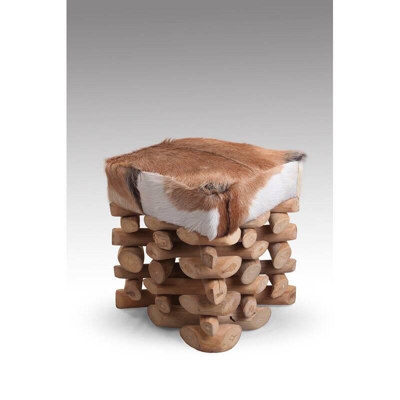 Hocker ROMANTEAKA-14 35x35x45cm natur recycltes Teak mit echtem Ziegenfell