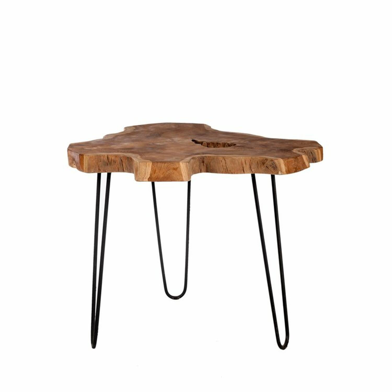 Couchtisch ROMANTEAKA-14 55x55x48cm natur, Gestell antikschwarz Platte recyceltes Teak, Gestell Metall antikschwarz