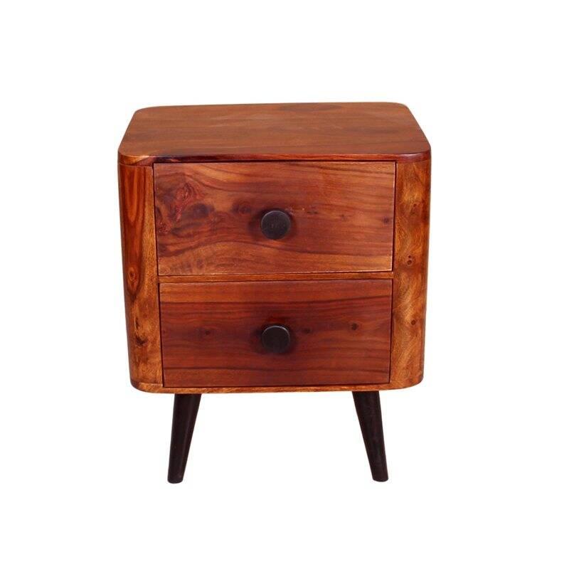 Nachttisch KNOB-14 50x40x60cm natur, Beine antikschwarz Sheshame