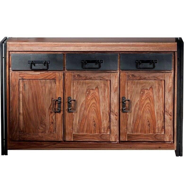 Sideboard PANAMA-14 140x40x90cm natur mit antikschwarz Shesham gebeizt und geölt mit Altmetall und Gebrauchsspuren