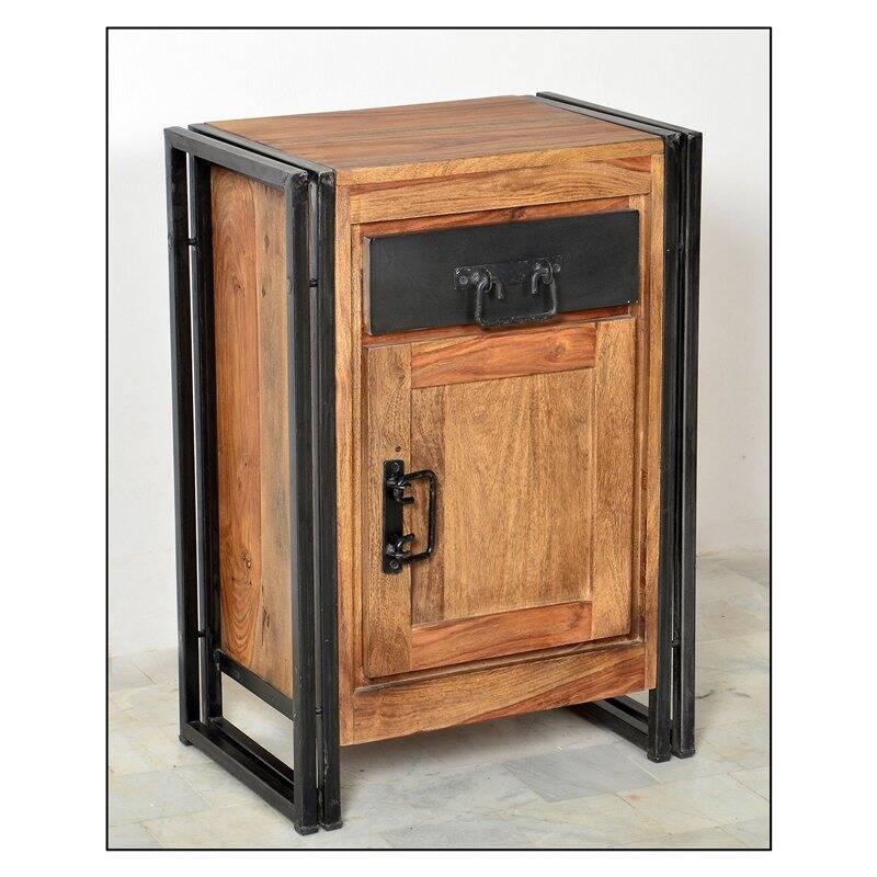 Kommode PANAMA-14 50x34x73cm natur mit antikschwarz Shesham gebeizt und geölt mit Altmetall und Gebrauchsspuren