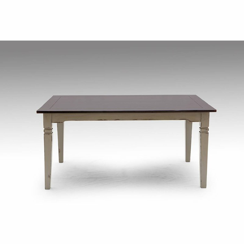 Tisch SPA-14 160x90x77cm taupe mit messingfarbenen Griffen Akazie massiv