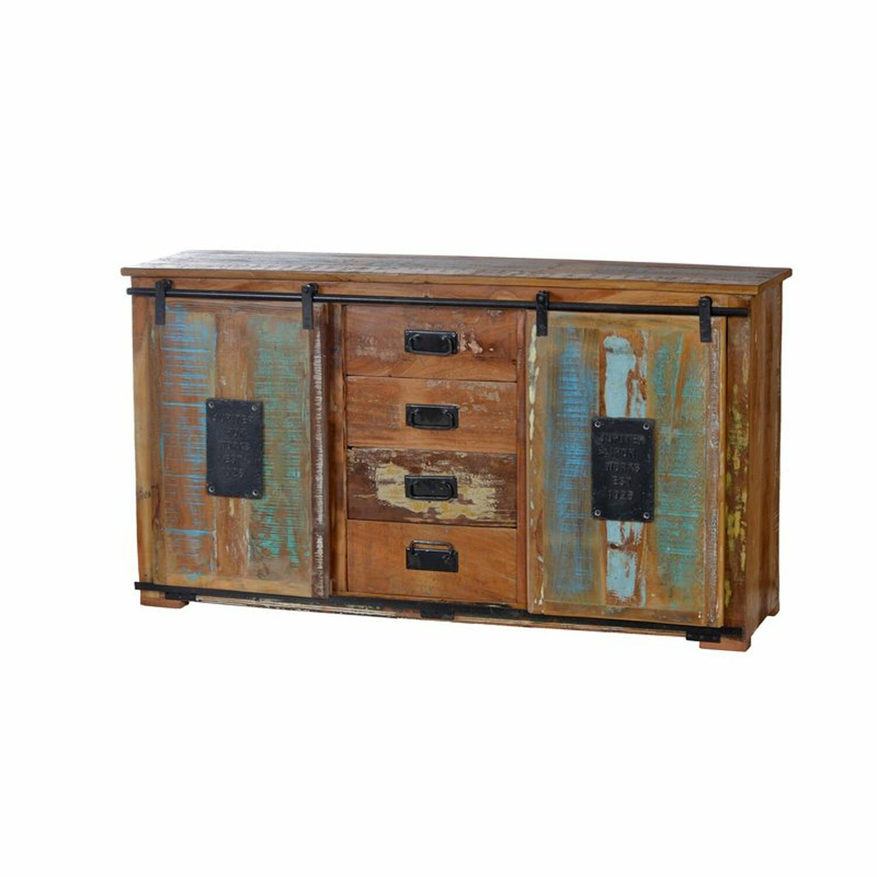 Sideboard JUPITER-14 150x38x81cm natur, bunt recyceltes Altholz mit Metall