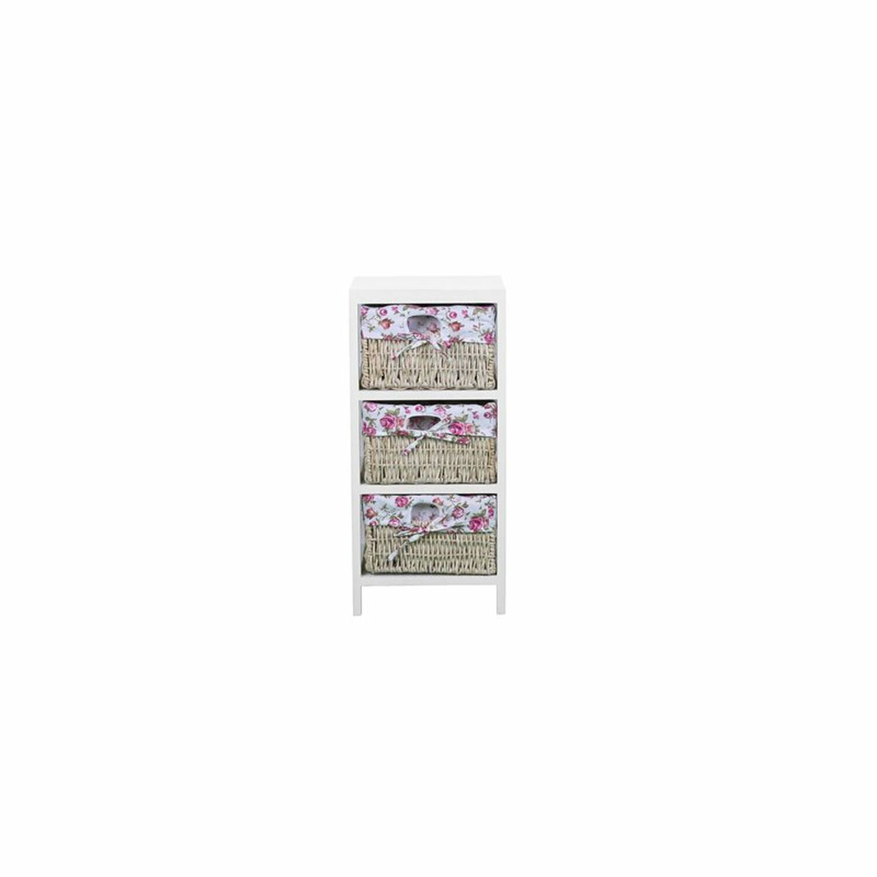 Kommode MACAO-14 30x27x63cm weiß, Boxen mit pinker Schleife Kiriholz + MDF