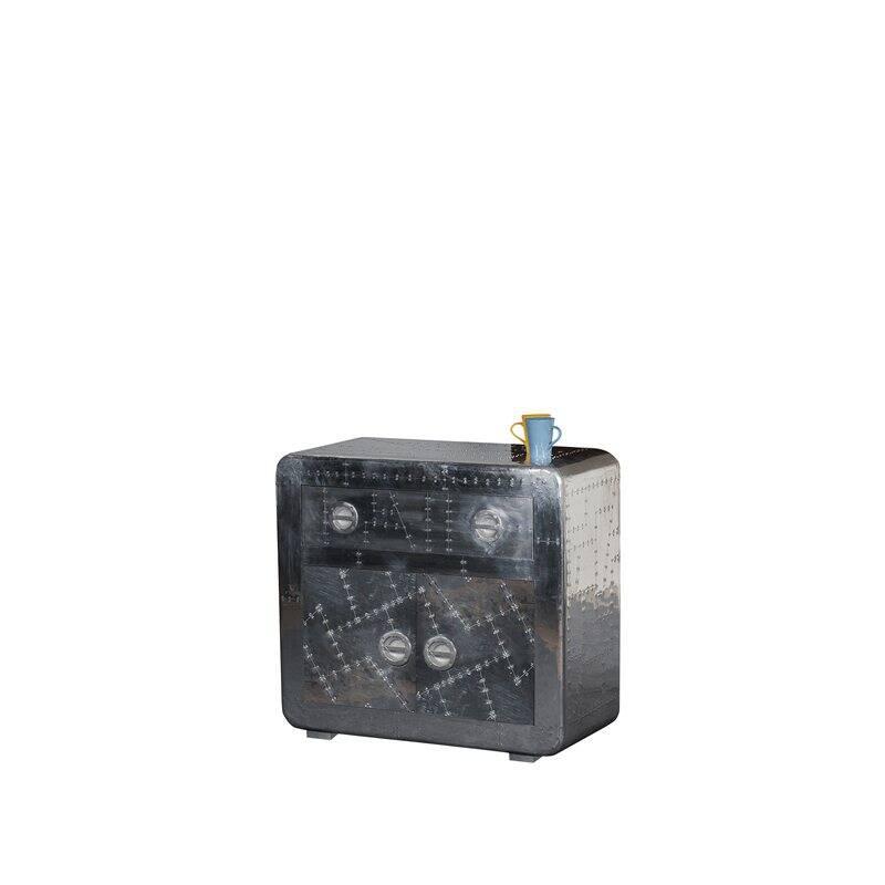 Kommode AIRMAN-14 90x40x80cm silber Mangoholz + MDF mit Alu beschlagen, mit Zierschrauben