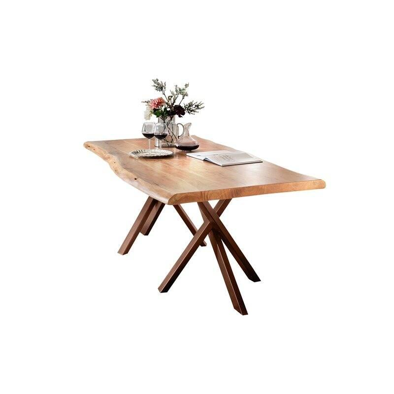 Tisch Akazie natur TISCHE-14 180x90x76cm Platte natur, Gestell antikbraun Platte Akazie, Gestell Stahl