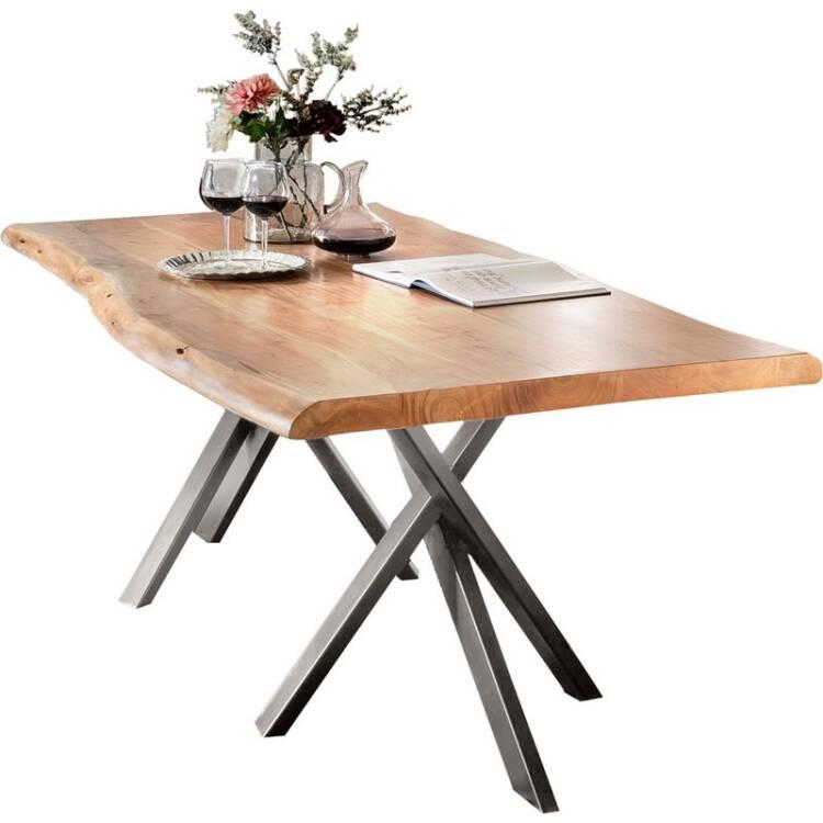 Tisch Akazie Natur Tische 14 180x90x76cm Platte Natur Gestell Antiksi