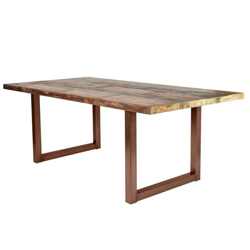 Tisch buntes Altholz TISCHE-14 220x100x77cm Platte bunt lackiert, Gestell antikbraun Platte Altholz, Gestell Stahl