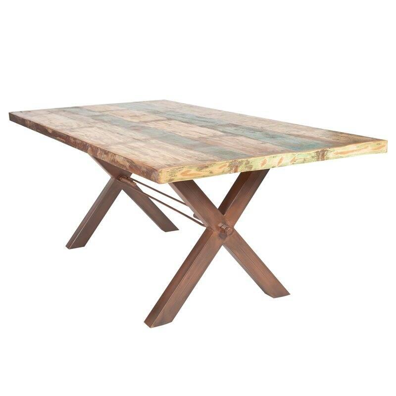 Tisch Altholz bunt lackiert TISCHE-14 160x85x76cm Platte bunt, Gestell antikbraun Platte Altholz, Gestell Eisen