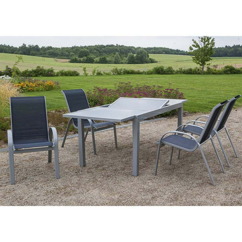 Gartenmöbel alu Set 5-teilig, Gartentisch 140cm bis 200cm 4x Stühle marine TOLEDO-29