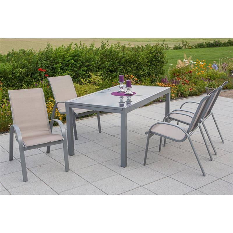 Gartenmöbel Set 5-teilig, Gartentisch 140cm bis 200cm 4x Stühle champagner TOLEDO-29