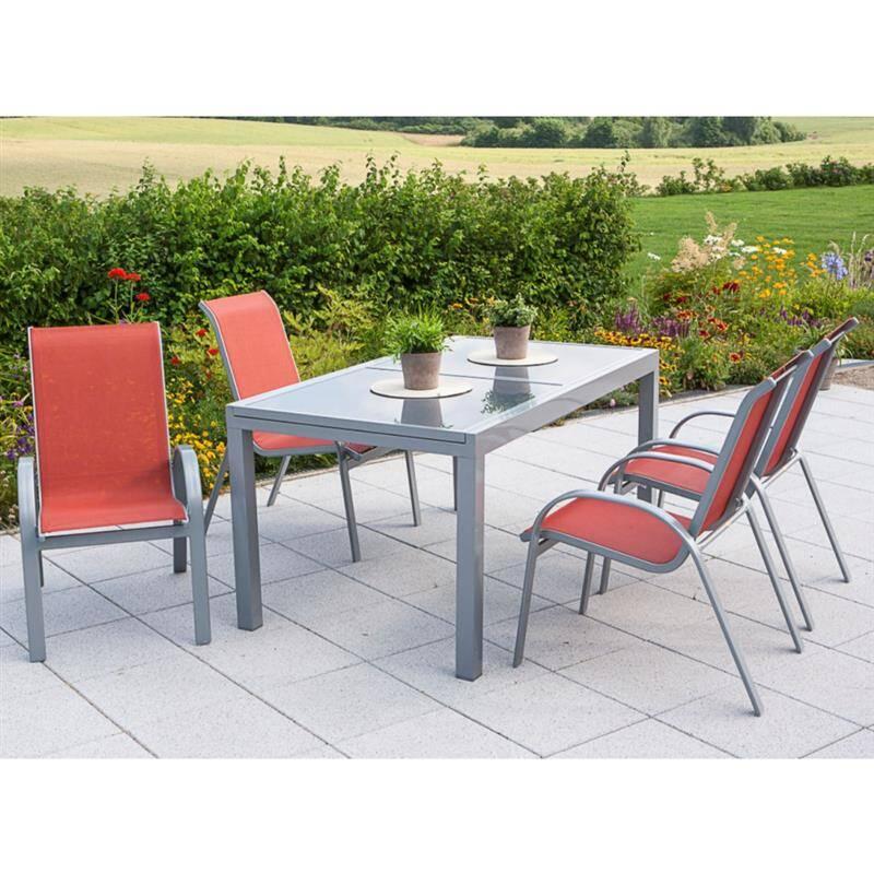 Gartenmöbel Set 5-teilig, Gartentisch 140cm bis 200cm 4x Stühle terracotta TOLEDO-29