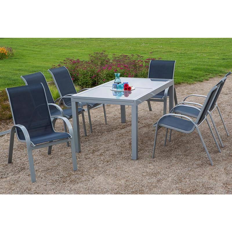 Gartenmöbel Set 7-teilig, Gartentisch 140cm bis 200cm 6x Stühle marine TOLEDO-29