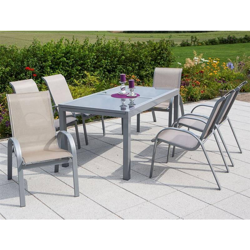 Metall Gartenmöbelset 7-teilig, Gartentisch 140cm bis 200cm 6x Stühle champagner TOLEDO-29