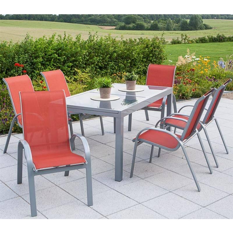 Gartenmöbel Set 7-teilig, Gartentisch 140cm bis 200cm 6x Stühle terracotta TOLEDO-29