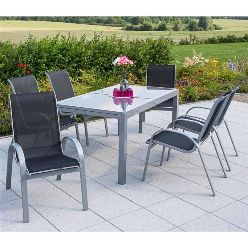 Metall Gartenmöbel Set 7-teilig, Gartentisch 140cm bis 200cm 6x Stühle schwarz TOLEDO-29