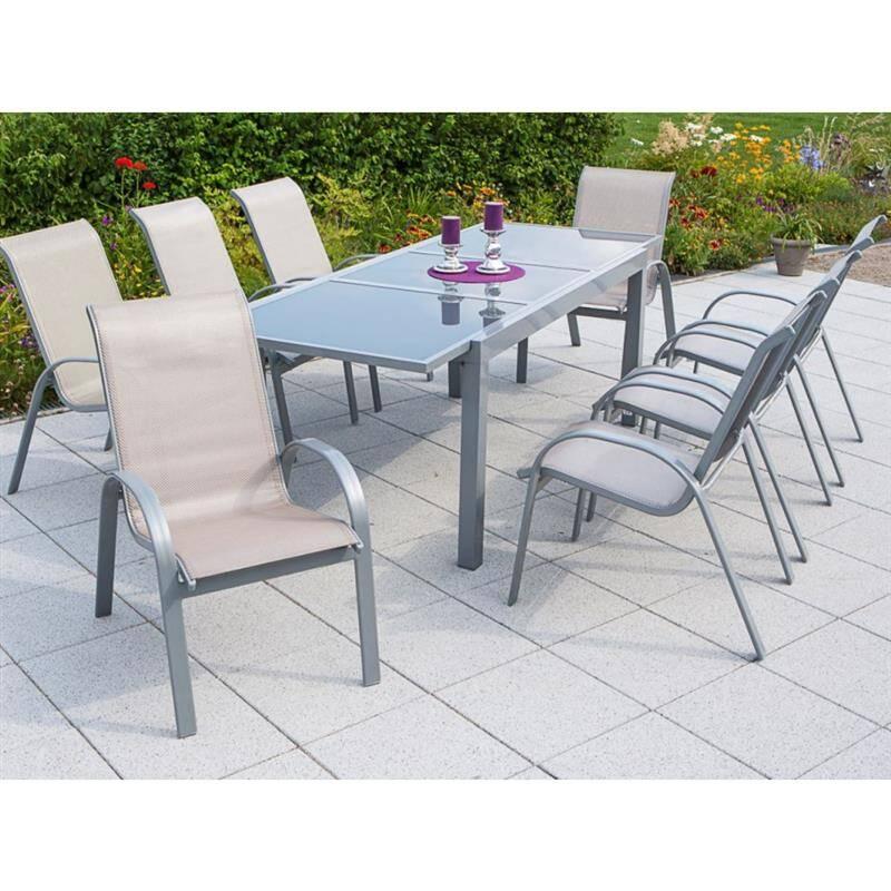 Gartenmöbel alu Set 9-teilig, Gartentisch 180cm bis 240cm 8x Stühle champagner TOLEDO-29