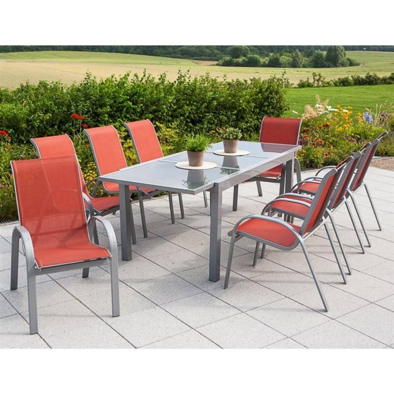 Gartenmöbel alu Set 9Teilig 8 Gartenstühle 1 Gartentisch - lomado ...