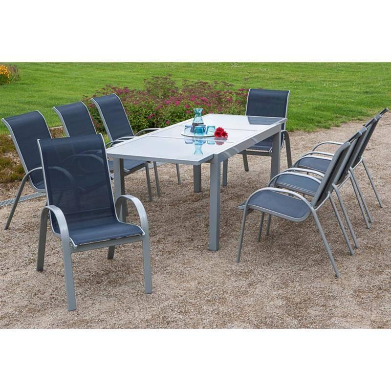 Gartenmöbel Set 9-teilig, Gartentisch 180cm bis 240cm 8x Stühle marine TOLEDO-29