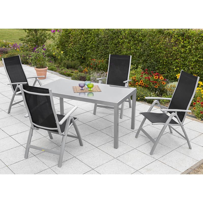 Garten Sitzgruppe alu 4 Garten Klappsessel 1 Gartentisch 150 cm schwarz PALMA-29