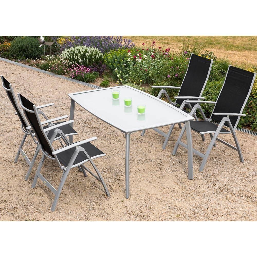 Garten Sitzgruppe Alu 4 Garten Klappsessel 1 Gartentisch 150 cm schwarz LONDON-29