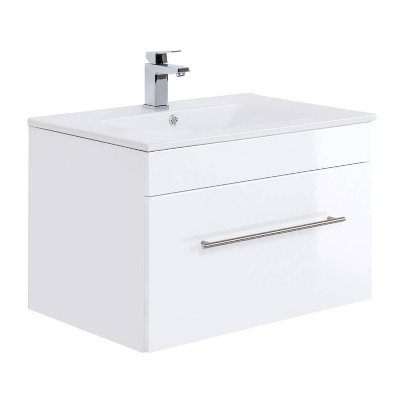 Waschtisch mit Keramikbecken LAGOS-02 75cm Hochglanz weiß, B x H x T ca. 75 x 48 x 46,3cm