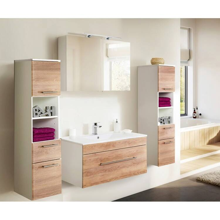 badezimmer hochschrank mit 2 t ren und schublade. Black Bedroom Furniture Sets. Home Design Ideas