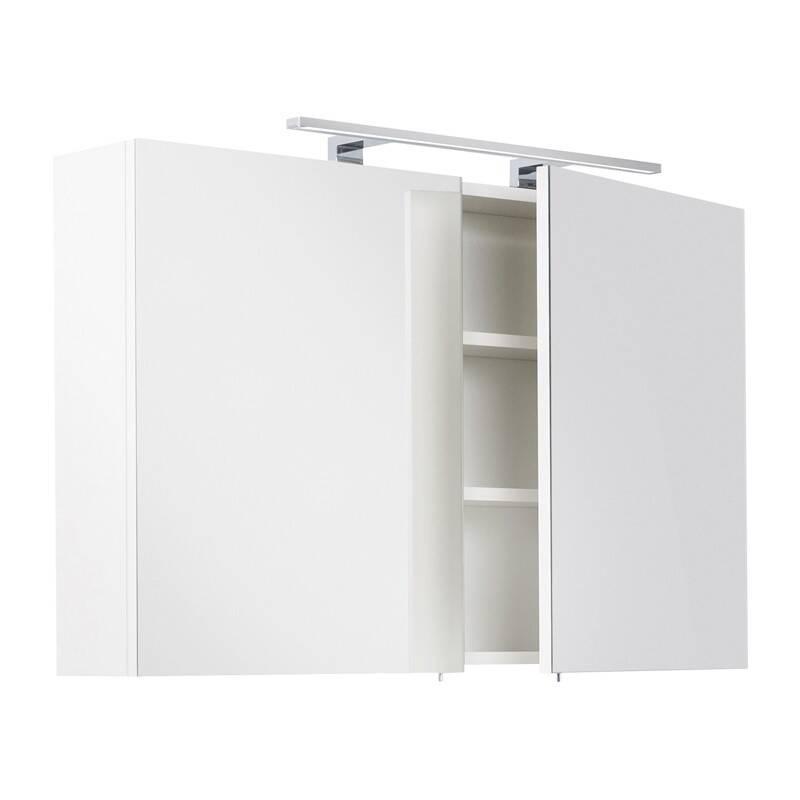 Badmöbel Spiegelschrank 100cm LAGOS-02 weiß inkl. LED-Lampe, B x H x T ca. 100 x 62 x 16,6cm