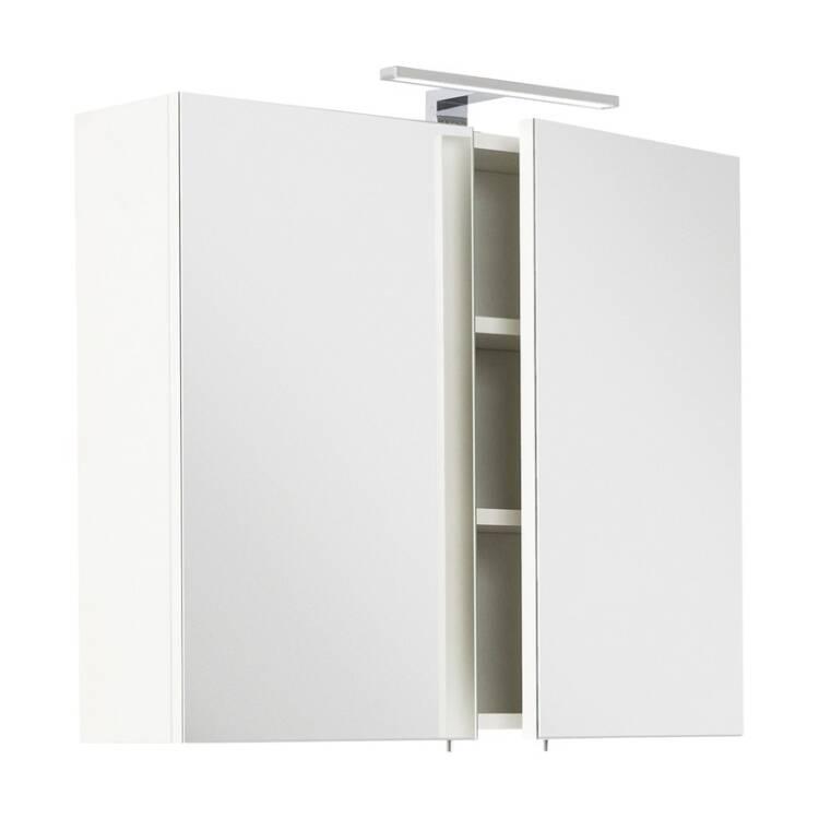 Badezimmer Spiegelschrank 75cm LAGOS-02 weiß inkl. LED-Lampe, B x H x