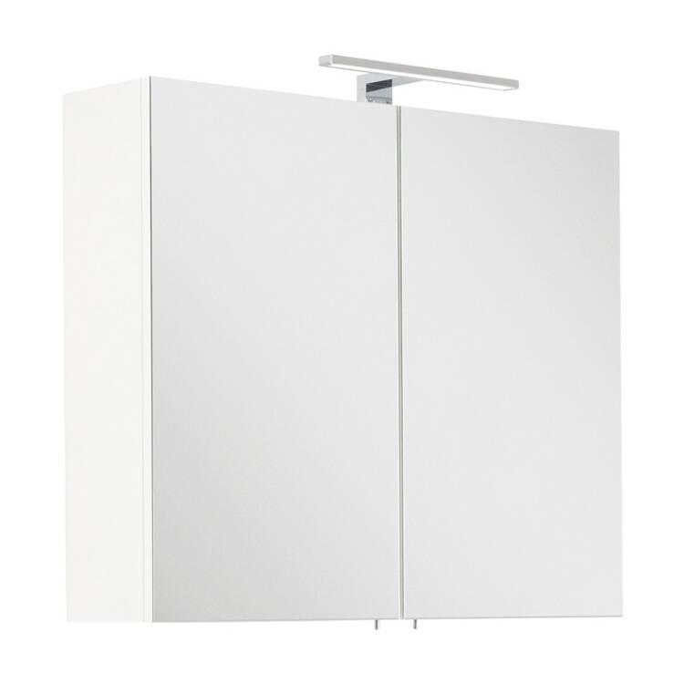 Badezimmer Spiegelschrank 75cm LAGOS-02 weiß inkl. LED-Lampe, B x H x T ca.  75 x 62 x 16,6cm